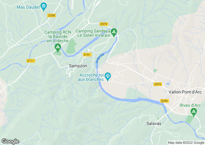 Map for Vallon-Pont-d`Arc, Ardèche, Rhone Alps