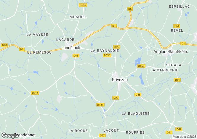 Map for Privezac, Aveyron, Midi-Pyrénées