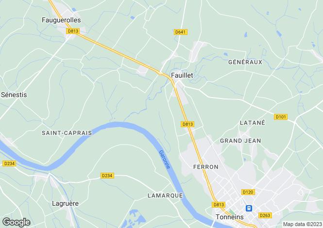 Map for fauillet, Lot-et-Garonne, France