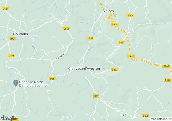 Map for Midi-Pyrenees, Aveyron, Clairvaux-d'Aveyron