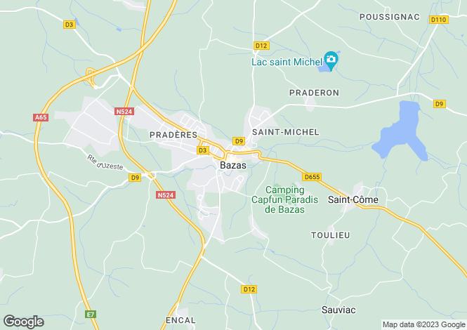 Map for Secteur: Bazas, Gironde