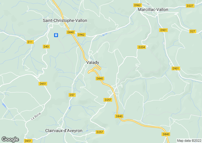 Map for Midi-Pyrenees, Aveyron, Valady