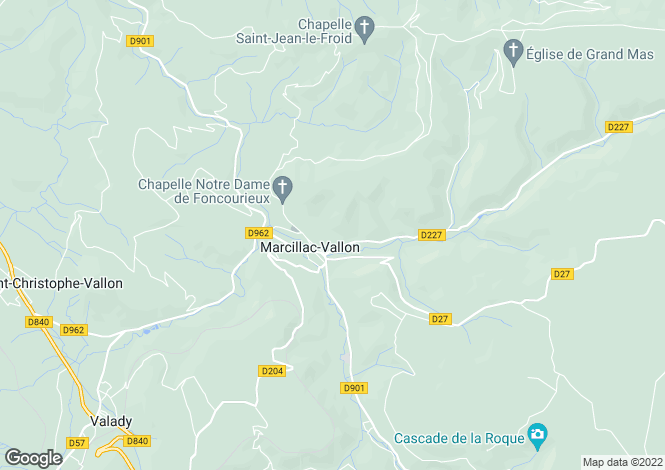 Map for Midi-Pyrenees, Aveyron, Marcillac-Vallon