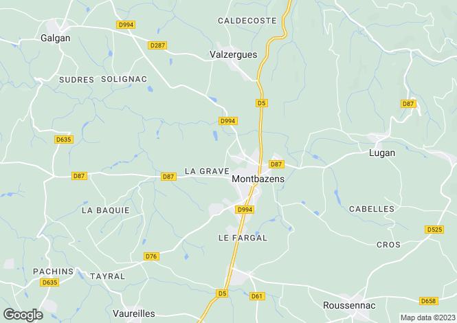 Map for Midi-Pyrenees, Aveyron, Montbazens