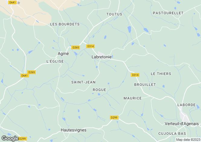 Map for Aquitaine, Lot-et-Garonne, Labretonie