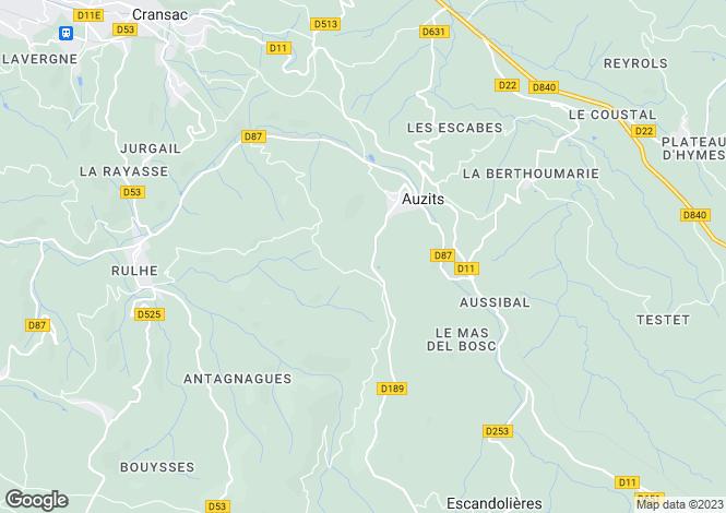 Map for Midi-Pyrenees, Aveyron, Auzits
