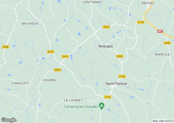 Map for Aquitaine, Lot-et-Garonne, Beaugas