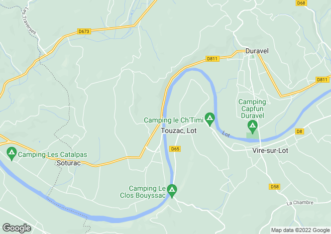 Map for touzac, Lot, France