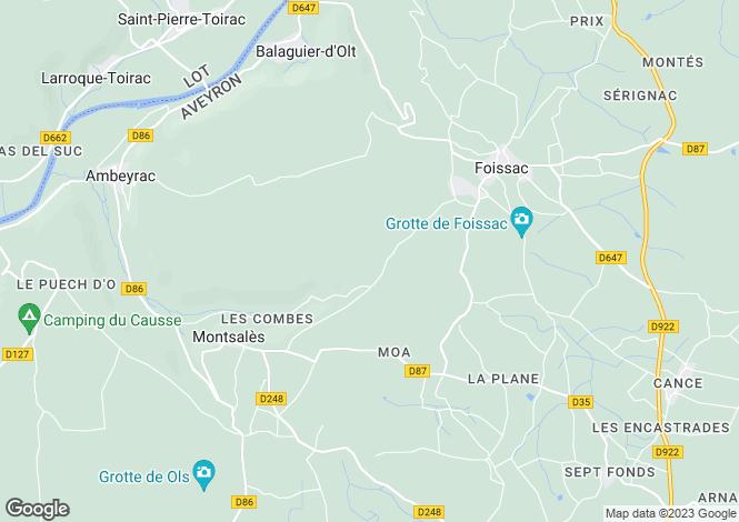 Map for Midi-Pyrenees, Aveyron, Montsalès