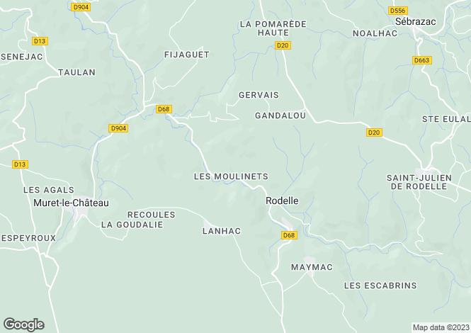 Map for Midi-Pyrenees, Aveyron, Rodelle