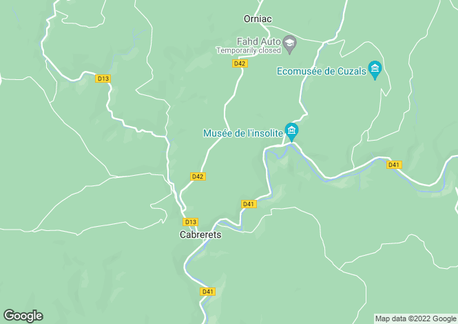 Map for Midi-Pyrénées, Lot, Cabrerets