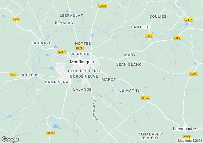 Map for Monflanquin, Lot Et Garonne, Aquitaine