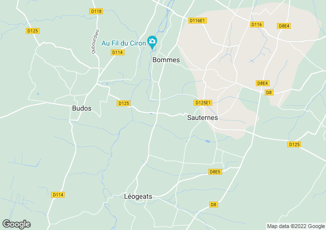 Map for sauternes, Gironde, France