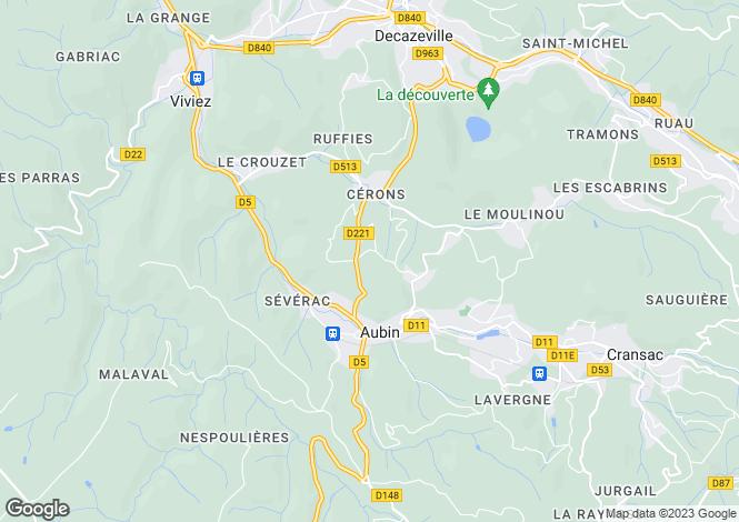 Map for Midi-Pyrenees, Aveyron, Aubin