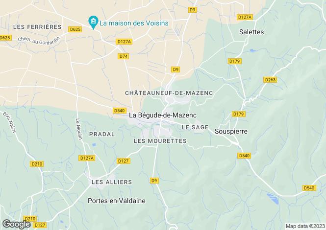 Map for La Begude-De-Mazenc, Rhone-Alpes, 26160, France