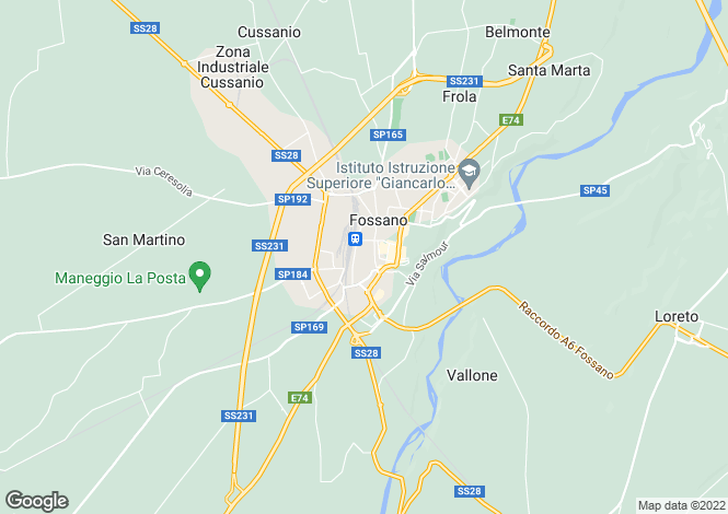 Map for Fossano, Cuneo, Piedmont