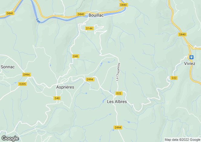 Map for Midi-Pyrenees, Aveyron, Les Albres