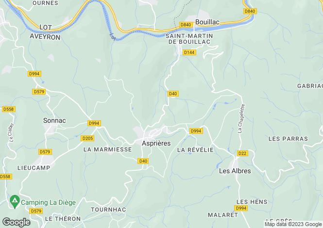 Map for Midi-Pyrénées, Aveyron, Asprières