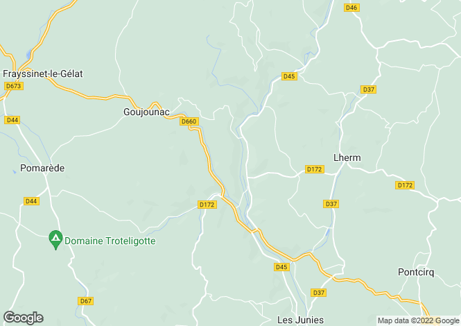 Map for goujounac, Lot, France