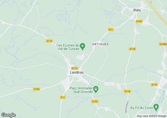 Map for Aquitaine, Gironde, Landiras