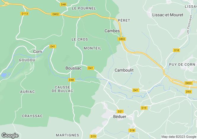 Map for Midi-Pyrénées, Lot, Boussac