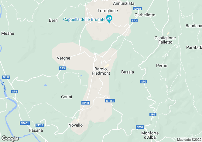 Map for Barolo, Piedmont