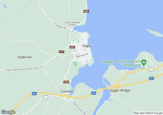 Map for Nova Scotia, Digby