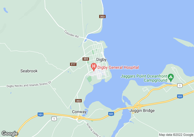 Map for Nova Scotia, Digby