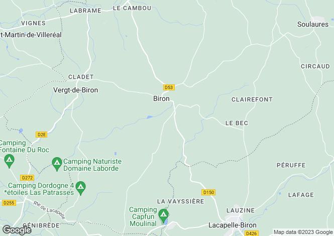 Map for Biron, Dordogne, Aquitaine