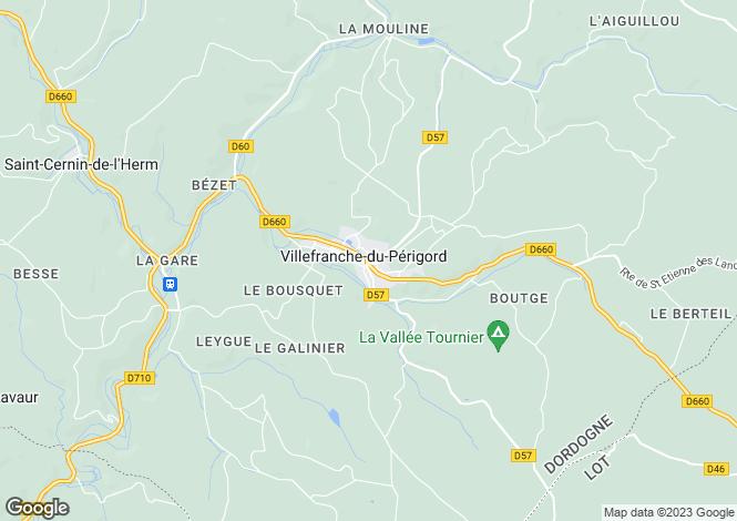 Map for Villefranche-Du-Perigord, Aquitaine, 24550, France