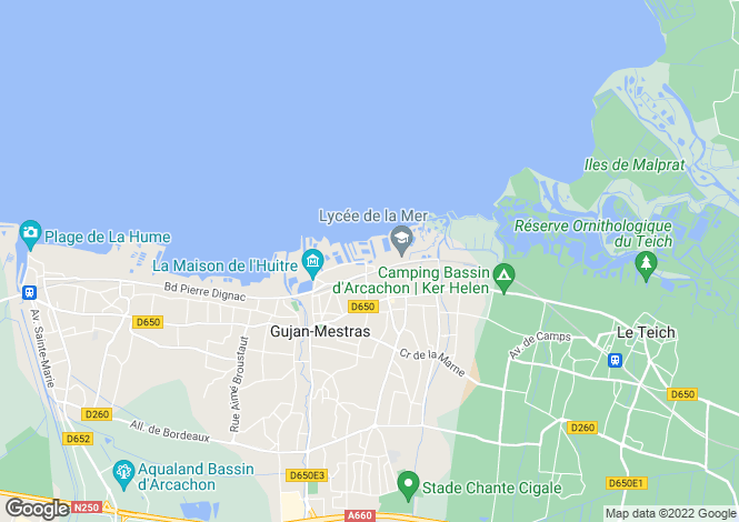 Map for Aquitaine, Gironde, Gujan-Mestras