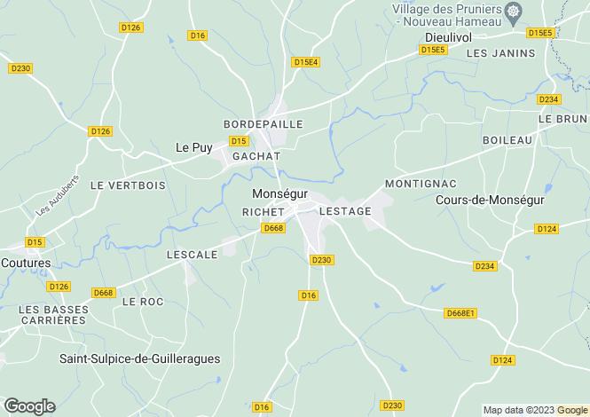 Map for Monsegur, Gironde, 33580, France