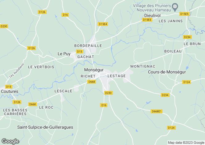 Map for Monsegur, Gironde