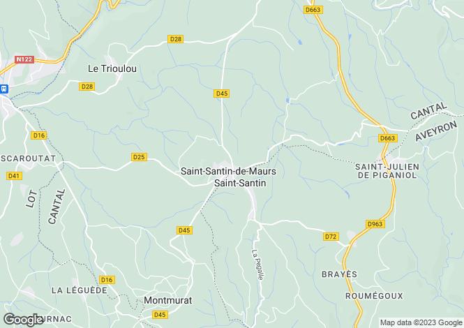 Map for Midi-Pyrenees, Aveyron, Saint-Santin
