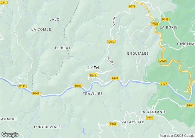 Map for Midi-Pyrenees, Aveyron, Le Fel