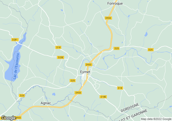 Map for Aquitaine, Dordogne, Eymet