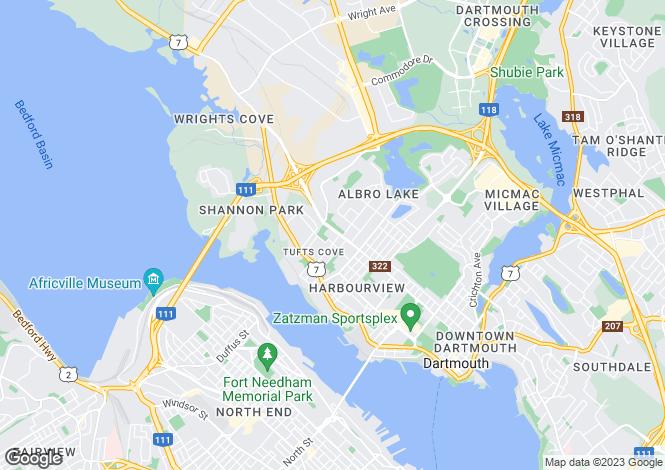 Map for Dartmouth, Nova Scotia