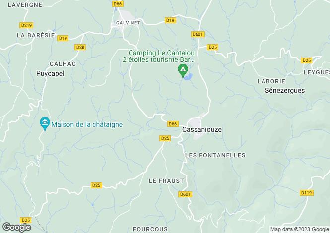Map for Auvergne, Cantal, Cassaniouze