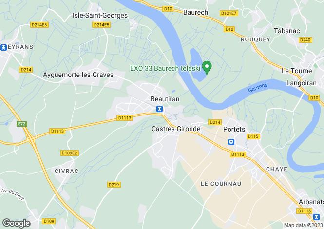 Map for beautiran, Gironde, France
