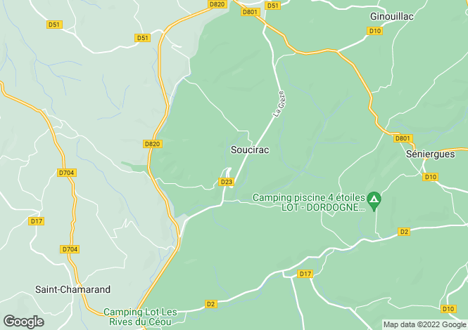 Map for soucirac, Lot, France