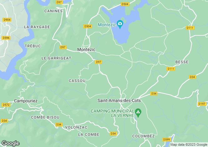 Map for Midi-Pyrenees, Aveyron, Montézic