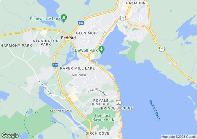 Map for Bedford, Nova Scotia