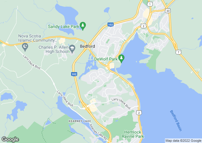 Map for Bedford, Nova Scotia