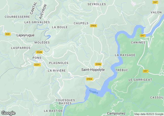Map for Midi-Pyrénées, Aveyron, St-Hippolyte