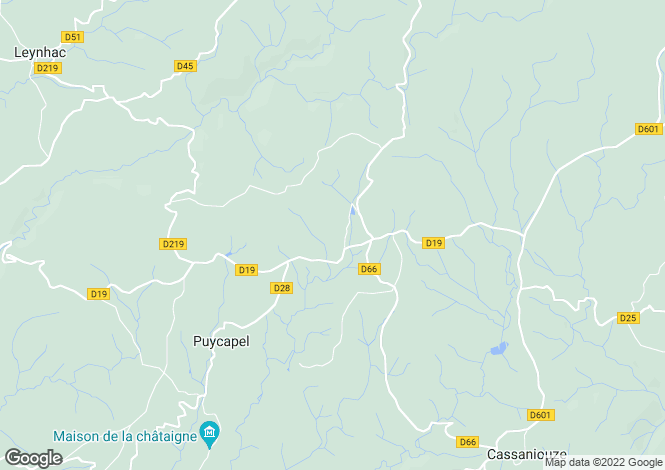 Map for Auvergne, Cantal, Calvinet