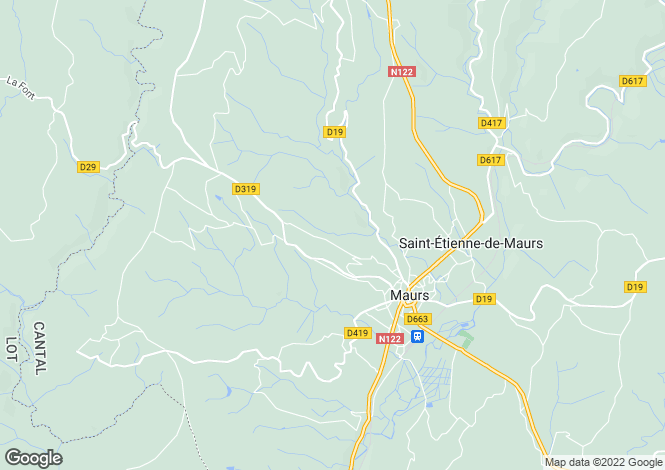 Map for Auvergne, Cantal, Maurs