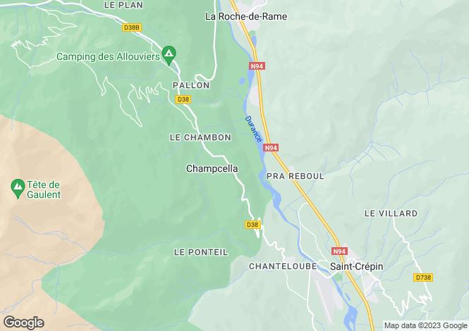 Map for Provence-Alps-Cote d`Azur, Hautes-Alpes, Champcella
