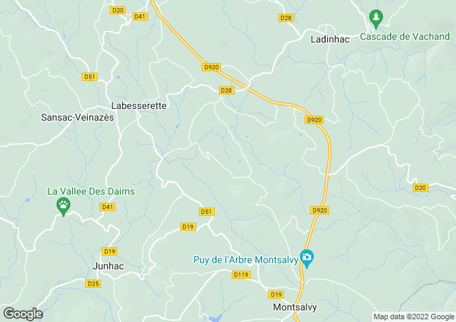 Map for Auvergne, Cantal, Labesserette