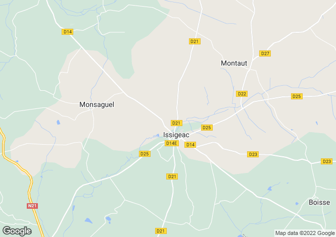 Map for South of Bergerac, in between Eymet and Issigeac, 20 min. to the airport