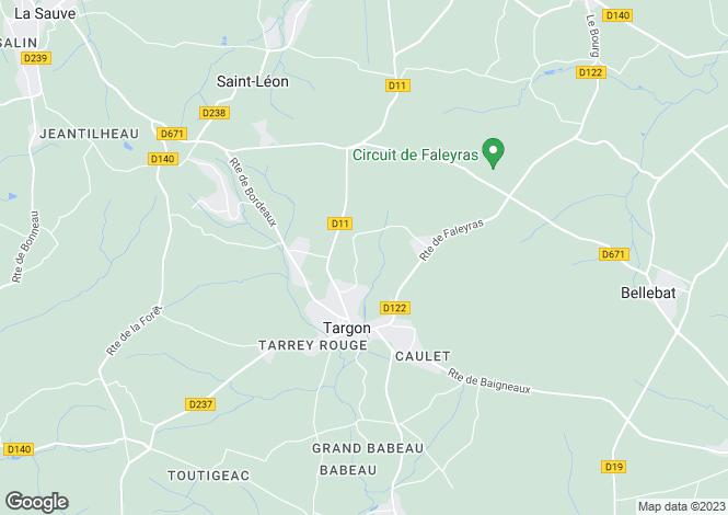 Map for targon, Gironde, France